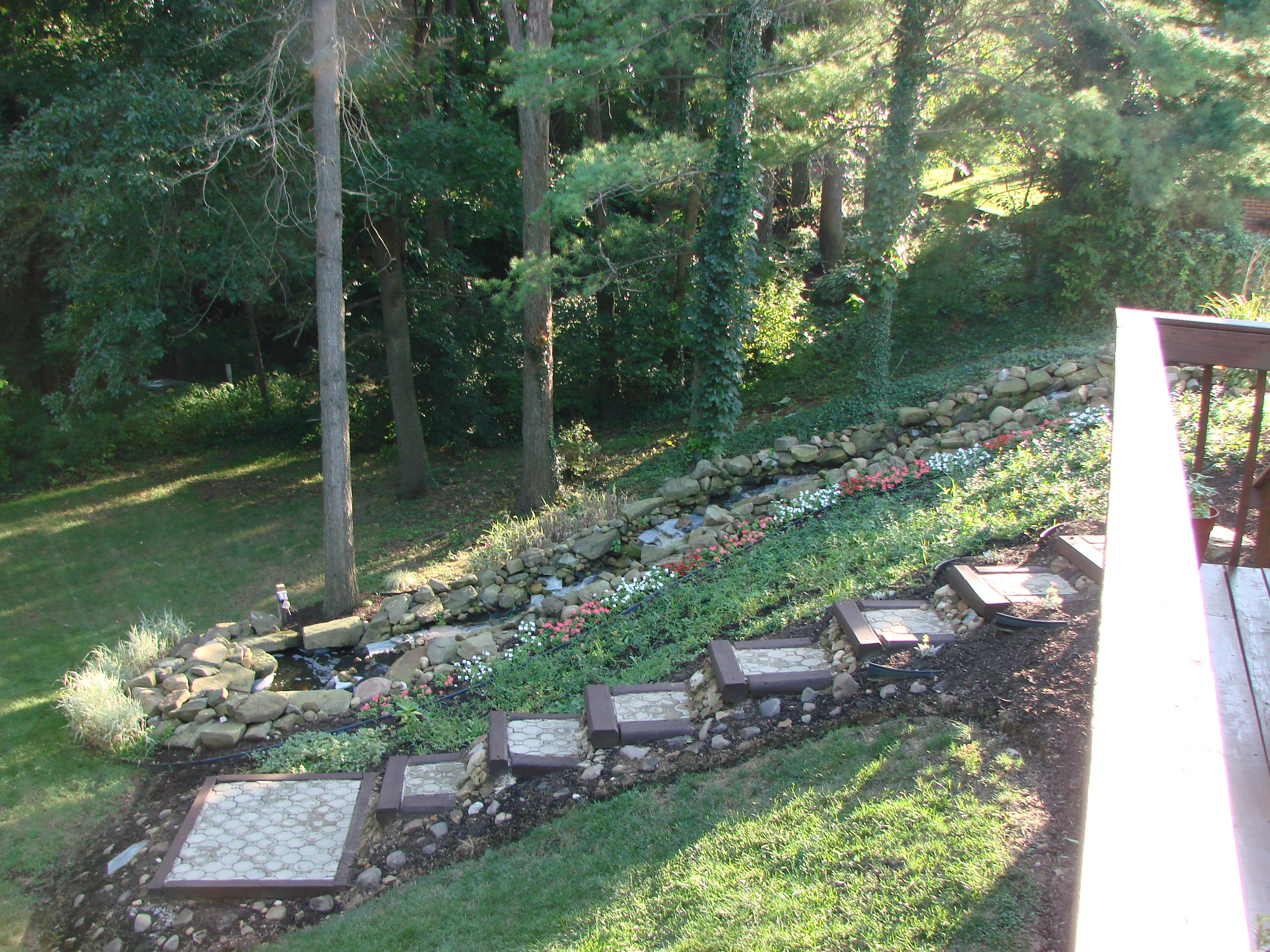 Landscaping – exterior steps along waterfall