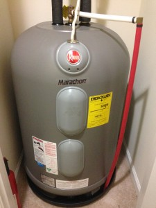 New Rheem plastic tank hot water heater with lifetime warranty.